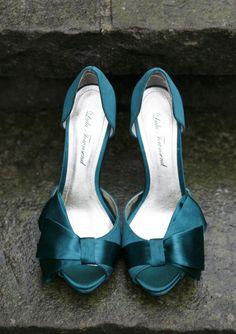 teal peep toe wedding shoes