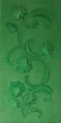 Green Green Green! Genevieve Bennett -Damask - A decorative leather wall panel made from hand cut and sculpted leather with a Damask inspired pattern from vintage woven textiles.