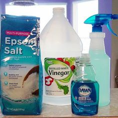 {Weed Killer} 1 Gallon white vinegar 2 cups multi purpose epsom salt 1/4 cup regular blue dawn dish soap