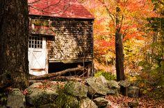 A New England farm barn under fall foliage