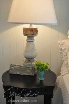 Old baluster turned lamp