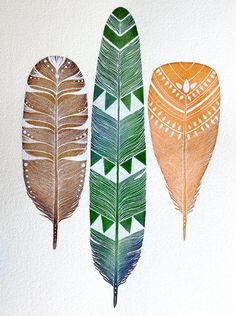 Watercolor Painting - Orchard Feathers - RiverLuna