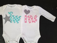 Boy Girl Twin Onesies Bubblegum Pink and Aqua - great idea for baby shower gift