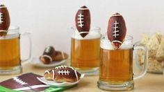Beer Mug Cheese Stuffed Football Pretzels | @hungryhappenings