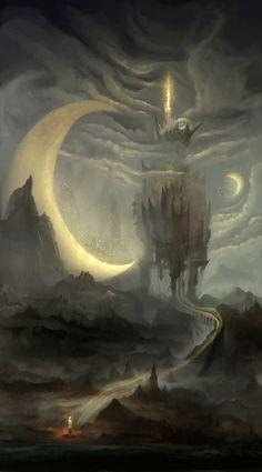 Confession tower by RaVirr17 on deviantART fantasi, dreams, towers, castles, moon art, fairi, confess tower, artist, blue moon
