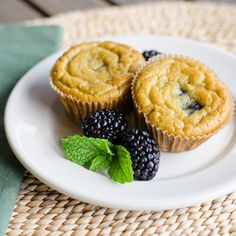 Paleo Banana Blackberry Muffin recipe is gluten-free, grain-free and dairy-free. cookeatpaleo.com