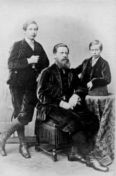 Emperor Friedrich III of Germany with sons Prince Wilhelm and Prince Heinrich