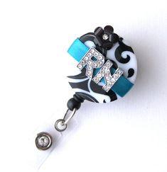 Custom Teal RN Blossom Bling  Designer Name Badge by BadgeBlooms, $18.00