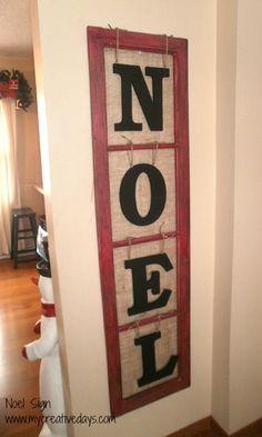 Old Window Makes Noel Sign