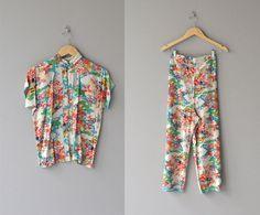 Katsura two-piece pajamas • vintage 1930s pajamas • japanese print rayon 30s pajamas