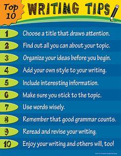 Top 10 Writing Tips Chart