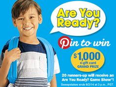 How do you win a $1,000 Lakeshore e-gift card and get your child ready for the school year? Enter the Are You Ready? Pin to Win Sweepstakes! Sweepstakes ends 6/2/14 at 3 p.m., PST.