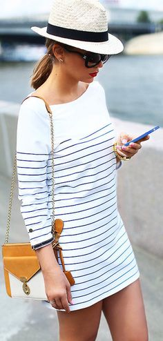 Nautical striped dress with fedora. A terrific look for the sunny days