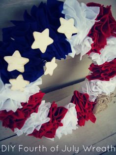 DIY 4th of July Wreath.  Can be used for Independence Day, Support Your Troops or just as a proud American wreath! Simple, fun & inexpensive! I will definitely be making this!