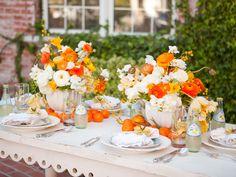 table settings, idea, centerpiec, color, oranges