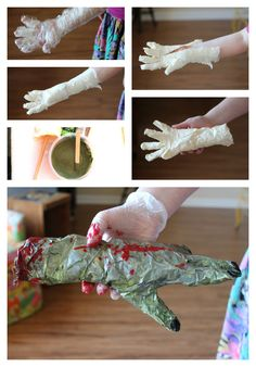 Make a zombie arm with masking tape!