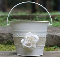 Flower Girl Basket Pail Burlap and Lace, Rustic Shabby Chic Wedding via Etsy