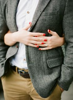 Katie Stoops Photography, Elizabeth Anne Designs  pop of red for engagement
