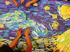 """WES Kindergarten Art: Artist: VINCENT VAN GOGH - We used small strips of colored paper to represent Van Gogh's brush strokes. Glue was applied to the back of each strip using our """"handy dandy tool""""  (aka pointer finger). Each strip was then placed on the mural in a spot where each particular color was needed. We had to pay close attention to the direction of his brush strokes.  We found that some were horizontal, vertical, diagonal and wavy. This is a close up of our finished mural."""