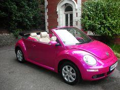 Pink car...yes, please! vw beetles, dreams, vw bugs, pink cars, colors, future car, daughter, barbie, dream car