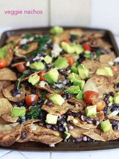 Healthy Veggie Nachos with black beans and sweet potato chips. Cinco de Mayo Recipes