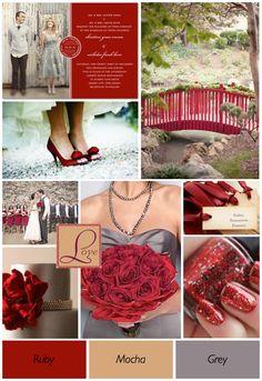 Red Wedding Theme Ideas  ruby, mocha, grey