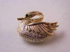 Vintage Gold Tone Rhinestone Swan Pin Brooch