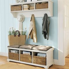 Set up clutter collectors where items naturally tend to gather, like a bowl on a table for keys and loose change, a set of tiered baskets for mail and school paperwork, a coat tree or wall hooks for outerwear and backpacks. Place a basket or shoe rack near the door to hold shoes.