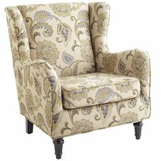 Claudio Wing Chair - Blue Jacobean