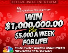 """Publishers Clearing House Sweepstakes You could become a MULTI-Millionaire this November in   our """"Special Early Look"""" Event!  >Click through to get your chance Now!! #money money Money"""