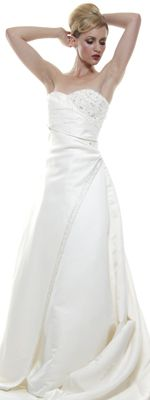 Classic Ivory Crossover Wedding Gown with Train - $240 Sale (9/5)