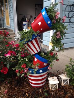 Painted for the 4th of July  Red white and blue clay pots