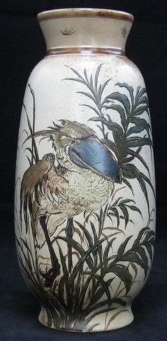 "Martin Brothers Pottery - Wally Birds Vase. Painted & Glazed Stoneware. Southall, Middlesex, England. Circa 1892. 8""."