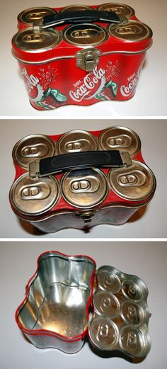 Promotional lunch boxes designed to resemble soda can 6-packs and bottle carriers.