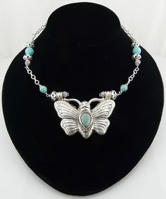 Handmade Sterling Silver and Turquoise Necklace with Butterfly Pendant from Malibu Jewelry Arts on Ruby Lane