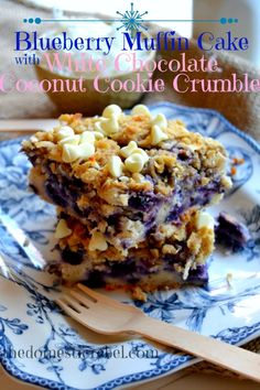 Blueberry Muffin Cake with Coconut Cookie Crumble. Perfect for Mother's Day Brunch!!