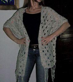 Chal con mangas, algodón chal con, con manga, tejido primaveraverano, primaveraverano 20132014