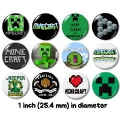 MINECRAFT BUTTONS PINS BADGES or video game computer creeper new