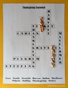 Printable Thanksgiving Crossword For Kids