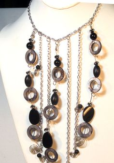 Black Onyx Chain Statement Necklace by lindab142 on Etsy, $86.50