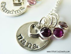Nana Pendant Necklace With Birthstone Charms