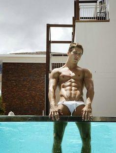 Wet boy. #speedo #bikini #hunk #muscle #hotbody #whitespeedo #hardbody