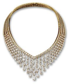 DIAMOND NECKLACE, VAN CLEEF & ARPELS, PARIS.  The V-shaped openwork collar decorated centrally with 24 flexibly-set pear-shaped diamonds weighing approximately 20.00 carats, completed by 104 round diamonds weighing approximately 27.80 carats and 242 smaller round diamonds weighing approximately 45.00 carats, mounted in 18 karat gold, signed Van Cleef & Arpels, numbered M40700, assay marks. With fitted case. En suite with the following lot.
