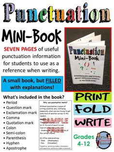 This little resource will teach students how to effectively use punctuation in their writing.
