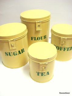 Yellow Kitchen Canisters pale yellow with green lettering set of four