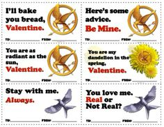 Free printable Hunger Games-themed Valentines #HungerGames #CatchingFire #Mockingjay