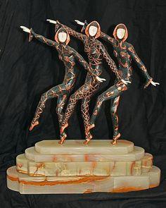 Demetre Chiparus-Bronze and Ivory Sculpture -Les Girls