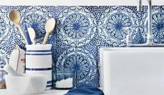 Kitchen Backsplash - Blue Tiles