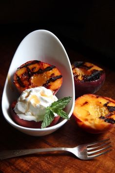 Grilled Peaches with Cinnamon Honey Butter - Love these, feel like they should definitely get some booze added to a glaze for the grill too :] maybe like a bourbon