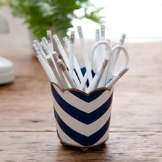 Hand-Painted Chevron Pencil Cup